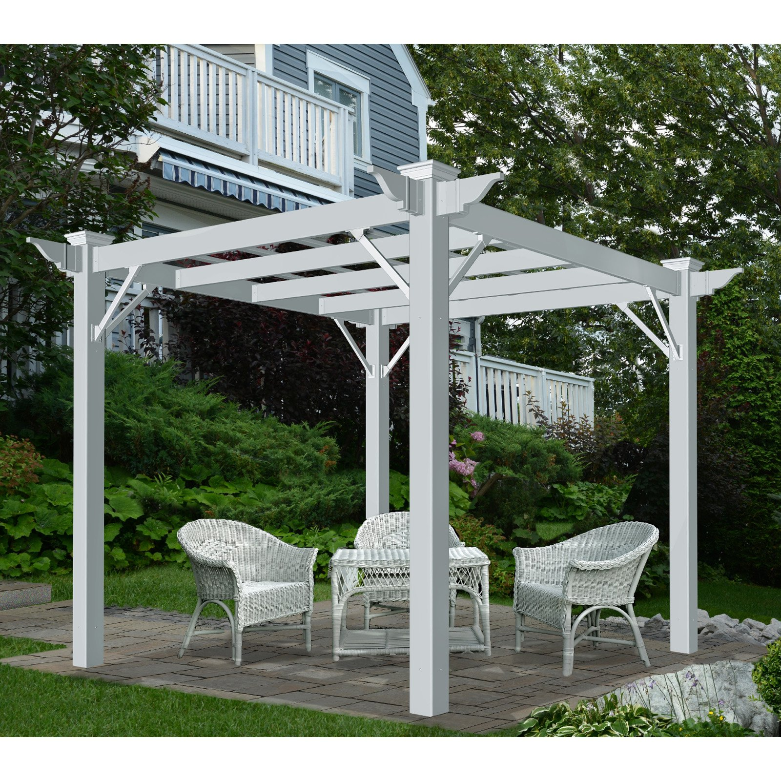 New England Arbors Lenox 8.5 x 8.5 Slide Lock Pergola by New England Arbors
