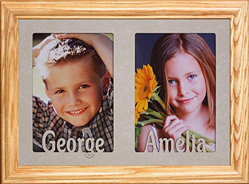 Personalized Double Portrait Picture Frame Holds Two 4x6
