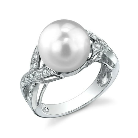 10 Mm Pearl Ring - 10mm White South Sea Cultured Pearl & Diamond Infinity Ring in 18K Gold