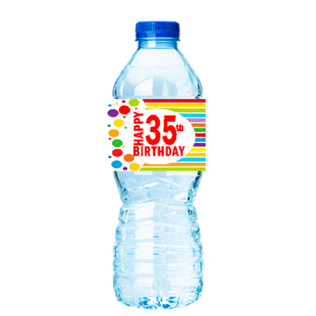 CakeSupplyShop Item#035RWB Happy 35th Birthday Rainbow Water Bottle Labels -15ct