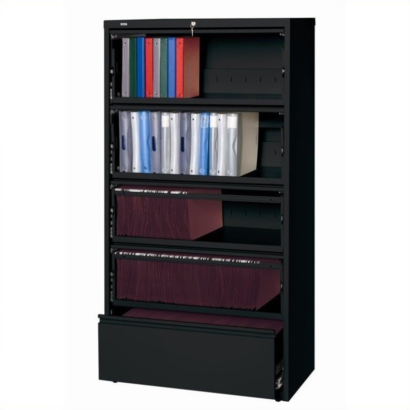 Hirsh Industries 10000 Series 5 Drawer Lateral File Cabinet File in Black