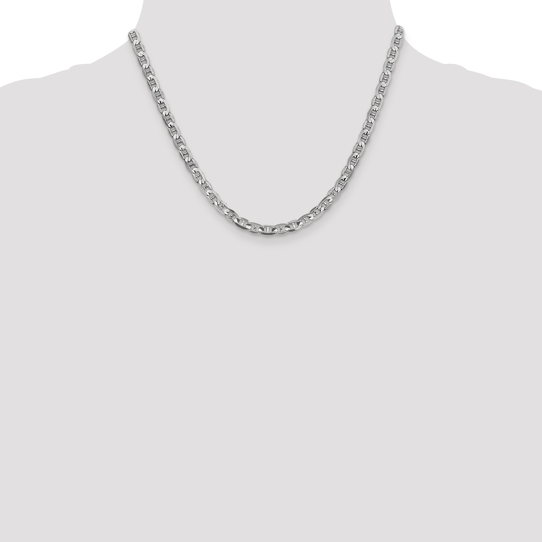 14k White Gold 4.5mm Concave Anchor Necklace Pendant Charm Chain Fine Jewelry Gifts For Women For Her - image 2 de 5