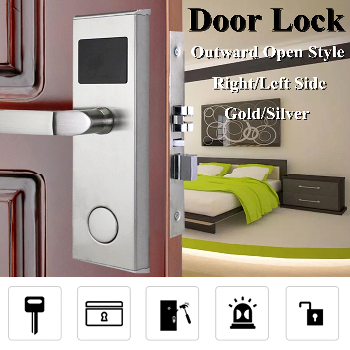 Smart Key Card Digital Lockset Security Entry Door Code Lock with 5 RFID Card Tags Knob Handle Stainless Steel Left/Right-Free Handed