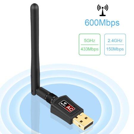 WiFi Adapter 600Mbps Wireless USB Adapter 5G/2.4G Dual Band Antennas Network Lan Card 802.11ac Wireless USB WiFi Network Dongle Adapter Support Windows XP/Vista/7/8.1/10/Mac OS X 10.4-10.11 Over Lan Support