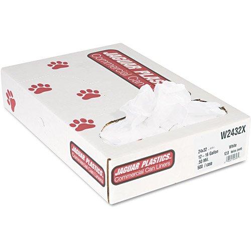 Jaguar Plastics Industrial Strength White Commercial Can Liners, 15 gal, 500 ct