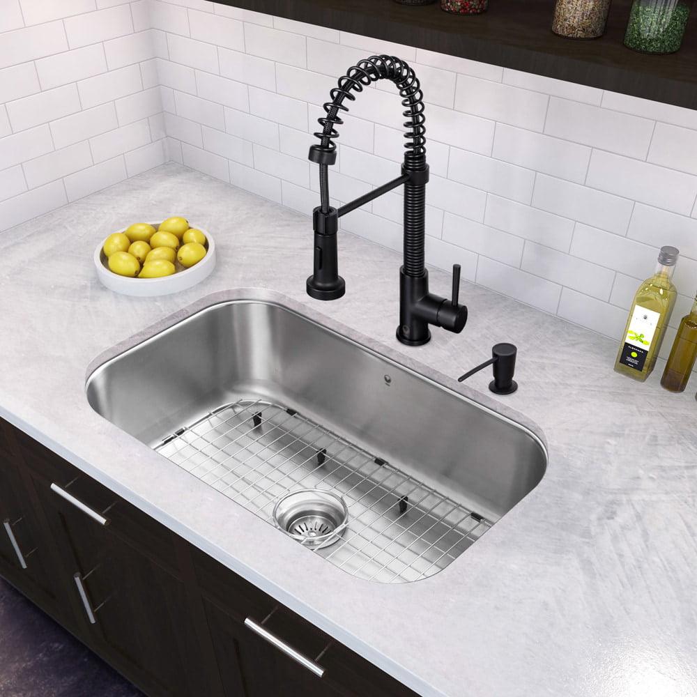 Vigo All In One 30 Inch Stainless Steel Undermount Kitchen Sink And