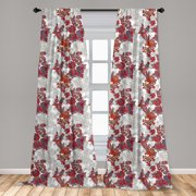 """Floral Curtains 2 Panels Set, Romantic Boho Style Narcissus Magic Magnolia Rose Vibrant Pattern Print, Window Drapes for Living Room Bedroom, 56""""W X 63""""L, Red Black Grey, by Ambesonne"""