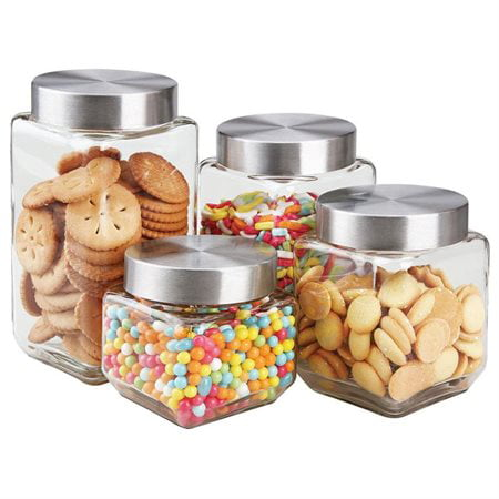 Square Glass Canister (HDS Trading CS10438 4 Pieces Glass Canister Set Square Glass)