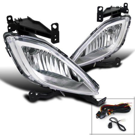 - Spec-D Tuning 2011-2013 Elantra Sedan 4D Driving Fog Lamps Front Bumper Lights + Switch Clear 11 12 13 (Left + Right)