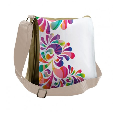 Rainbow Messenger Bag, Curvy Floral Design, Unisex Cross-body, by Ambesonne