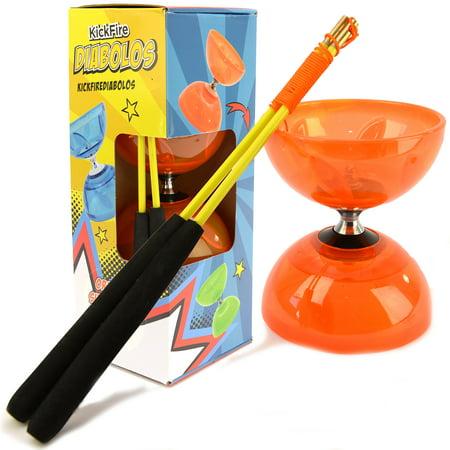 Kickfire Diabolos Orange Super Nova Chinese Yoyo Diabolo Set With Carbon Sticks And String