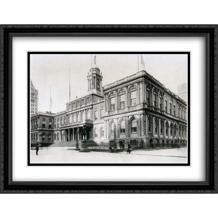 New York City Hall - 1919 2x Matted 36x28 Large Black Ornate Framed ...