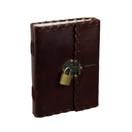Handmade Leather Bound 240 Page Blank Journal With Metal Clasp and Padlock ()