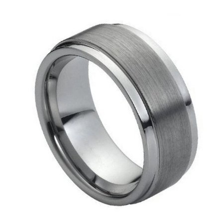 9mm Tungsten Carbide High polish Side cuts and Brushed finish Center design Wedding Band Ring For Men or (Center Cut Design Band)