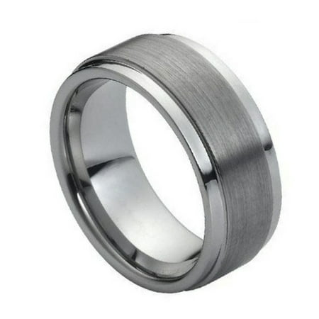 - 9mm Tungsten Carbide High polish Side cuts and Brushed finish Center design Wedding Band Ring For Men or Ladies