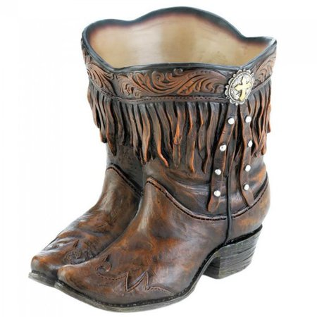 cowgirl COWBOY BOOT shoe Country western Flower Pot plant Planter art -