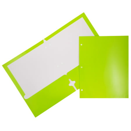 Glossy 2 Pockets - JAM Paper Glossy Two Pocket 3 Hole Punched Presentation Folder, Lime Green, 100/pack