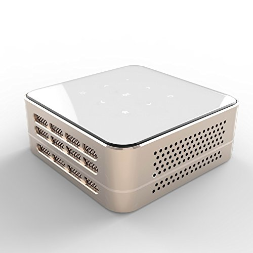 Ivation Pro3 Portable Rechargeable Smart DLP Projector - Streams via HDMI\/MHL & USB connections, Wi-Fi, Bluetooth - Compatible with DLNA, Miracast, Airplay Wireless Mirroring for iOS & Android - Gold