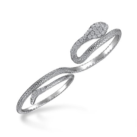 Boho Cubic Zirconia Fashion Statement CZ Pave Serpent Snake Two Finger Ring For Teen For Women 925 Sterling Silver Pave Snake Ring