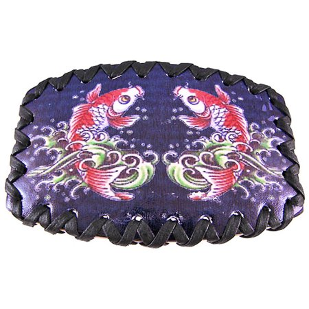 Tattoo Koi Fish Black Leather Belt Buckle - Fish Tatoos