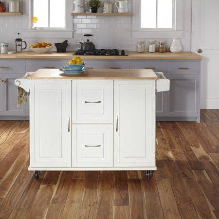 Home Styles  Dolly Madison White Wood Prep and Serve (Dolly Madison Prep And Serve Kitchen Cart)