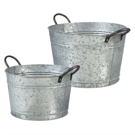 Galvanized Bucket, Set of 2 - Mini Galvanized Buckets
