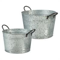 Galvanized Bucket, Set of 2