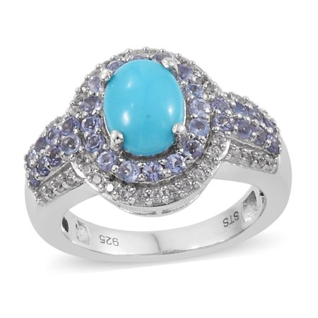 - Sleeping Beauty Turquoise Tanzanite Halo Ring 925 Sterling Silver Platinum Plated Gift Jewelry for Women Size 8