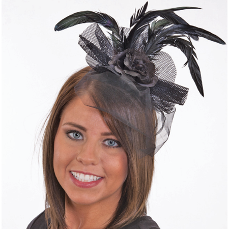 Saloon Girl Black Rose Flower Feather Veil Headband Lace Costume Accessory - Saloon Girl