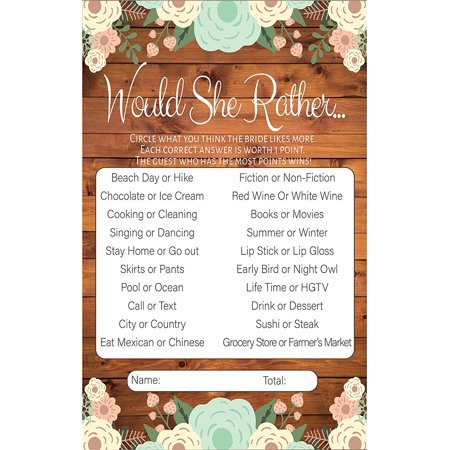 Would She Rather Rustic Bridal Shower Games, Premium Card Stock Bride Game Cards, Bridal Shower Decorations, Bride To Be Gifts, Wedding Party Decorations, Party Favors (20 - Bridal Shower Giveaways