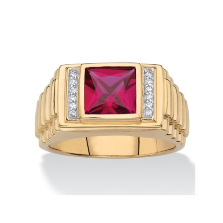 Men's Square-Cut Created Red Ruby and Diamond Accent Ring 1.36 TCW in 18k Gold over Sterling - Square Cut Ruby