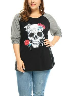 db2cdeb9 Product Image Unique Bargains Women Plus Top Plus Size Floral Skull  Contrast Color Raglan T-Shirt