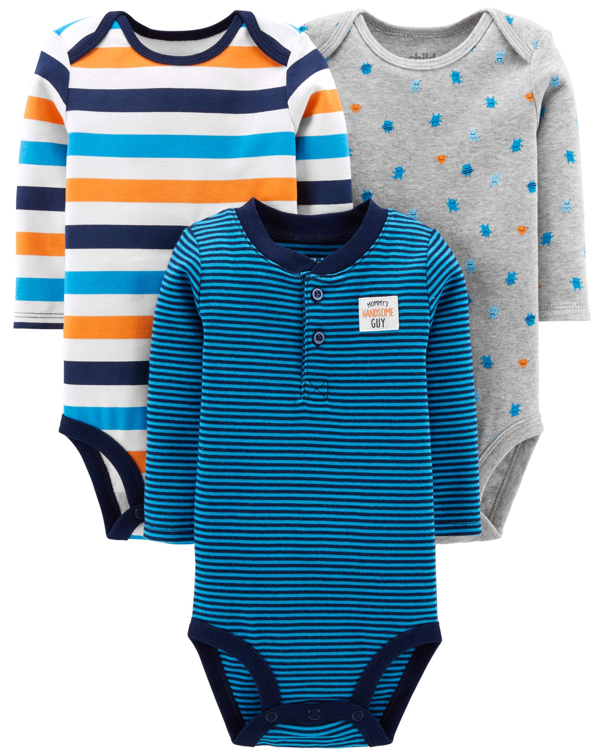 Child Of Mine By Carter's Long Sleeve Bodysuits, 3-pack (Baby Boys)