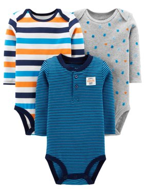 Product Image Long Sleeve Bodysuits, 3-pack (Baby Boys)