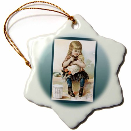 3dRose Eagle Brand Little Girl Feeding Her Doll Baby, Snowflake Ornament, Porcelain, 3-inch