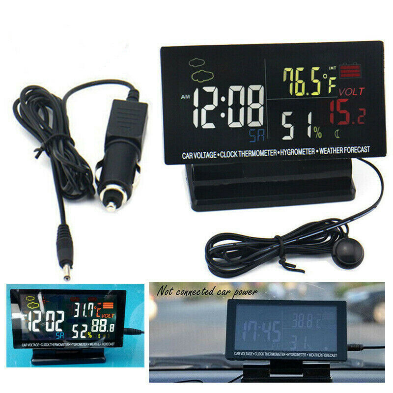 Kytree Car air Outlet Thermometer Electronic Clock time LED Digital Display Thermometer Plus Luminous auto Supplies