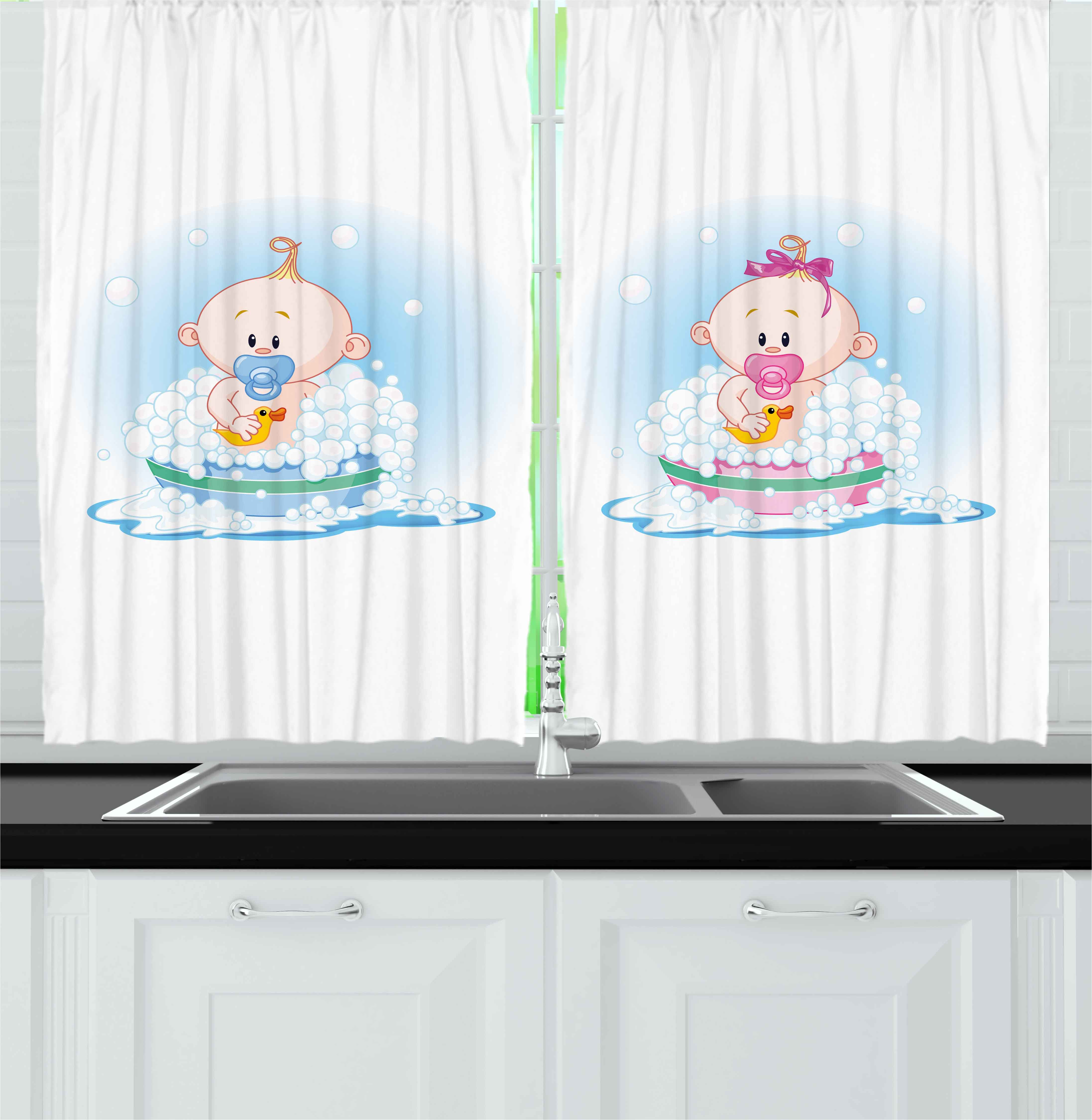 Gender Reveal Curtains 2 Panels Set, Cute Girl and Boy Babies in Bath with Bubbles Duck Toddler Picture Print, Window Drapes for Living Room Bedroom, 55W X 39L Inches, Multicolor, by Ambesonne