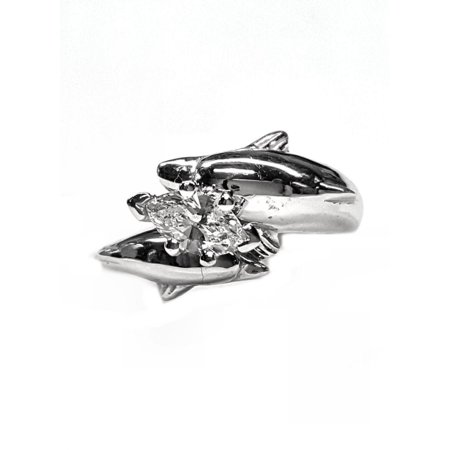 Double Dolphin Diamond Engagement Ring 36pt Marquise Center Marquise Shape Center Engagment Ring