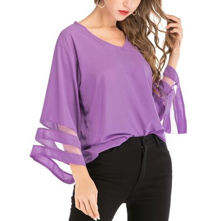 LELINTA Women's Super Soft 3/4 Flutter Ruffle Raglan Short Sleeve T-Shirt, S-5XL, Purple/ Pink/ Black/ Blue (Pink Rayban)