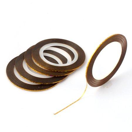 Nail Art DIY Striping Decoration Sticker Tips Nail Line Tape Gold Tone 5 PCS - image 5 de 5