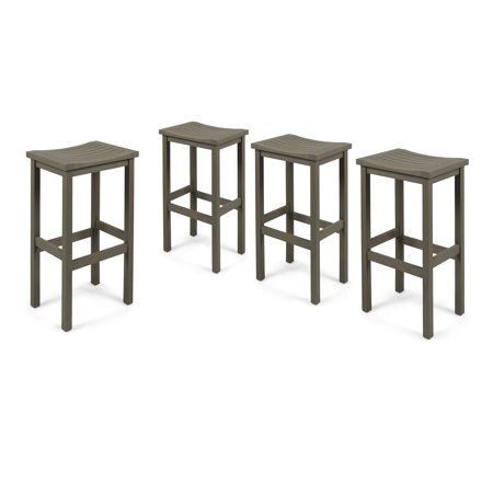Cassie Outdoor 30 Inch Acacia Wood Barstools, Set of 4, Grey Finish 30 Inch Outdoor Freestanding Bar