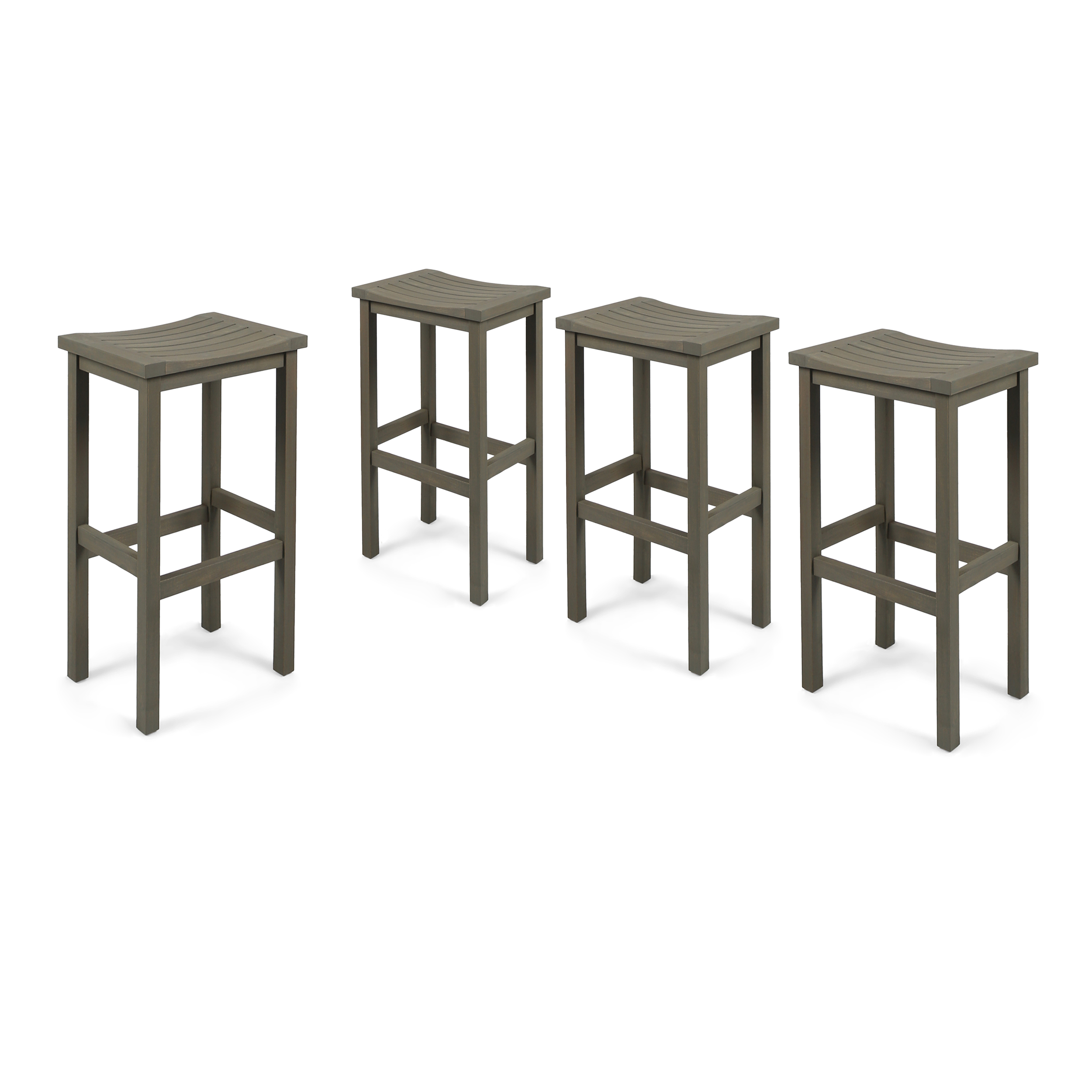 Cassie Outdoor 30 Inch Acacia Wood Barstools, Set of 4, Grey Finish