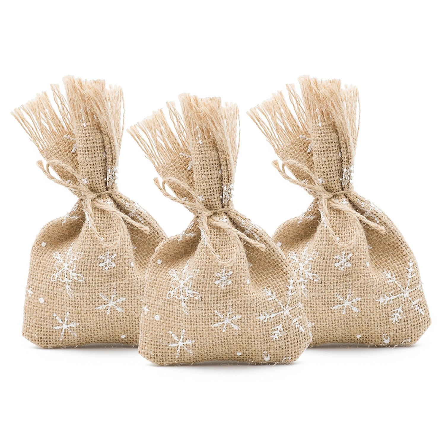 25 Christmas Favor Gift Bags Burlap and White Snowflakes, 4 x 6 Inch, Winter Party Decorations (White Snowflakes)