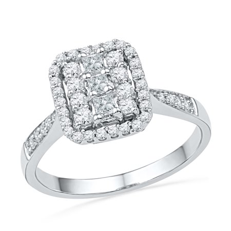 Size - 7 - Solid 10k White Gold Princess Cut Round White Diamond Engagement Ring OR Fashion Band Channel Set Square Shape Solitaire Shaped Halo Ring (1/2 cttw)