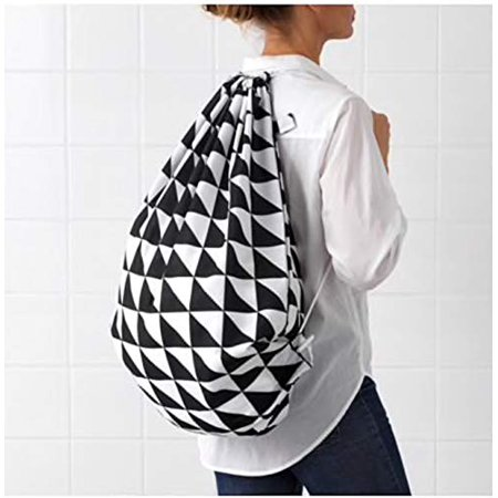Ideal Bag - IKEA Snajda Laundry Bag Black White 603.299.47 Size 16 gallon