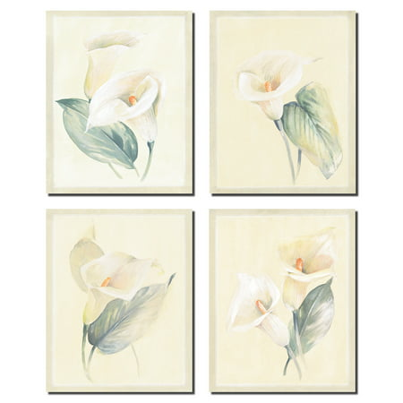 Popular Soft White Calla Lilies; Floral Decor; Four 8x10in Poster Prints Callas Poster Print