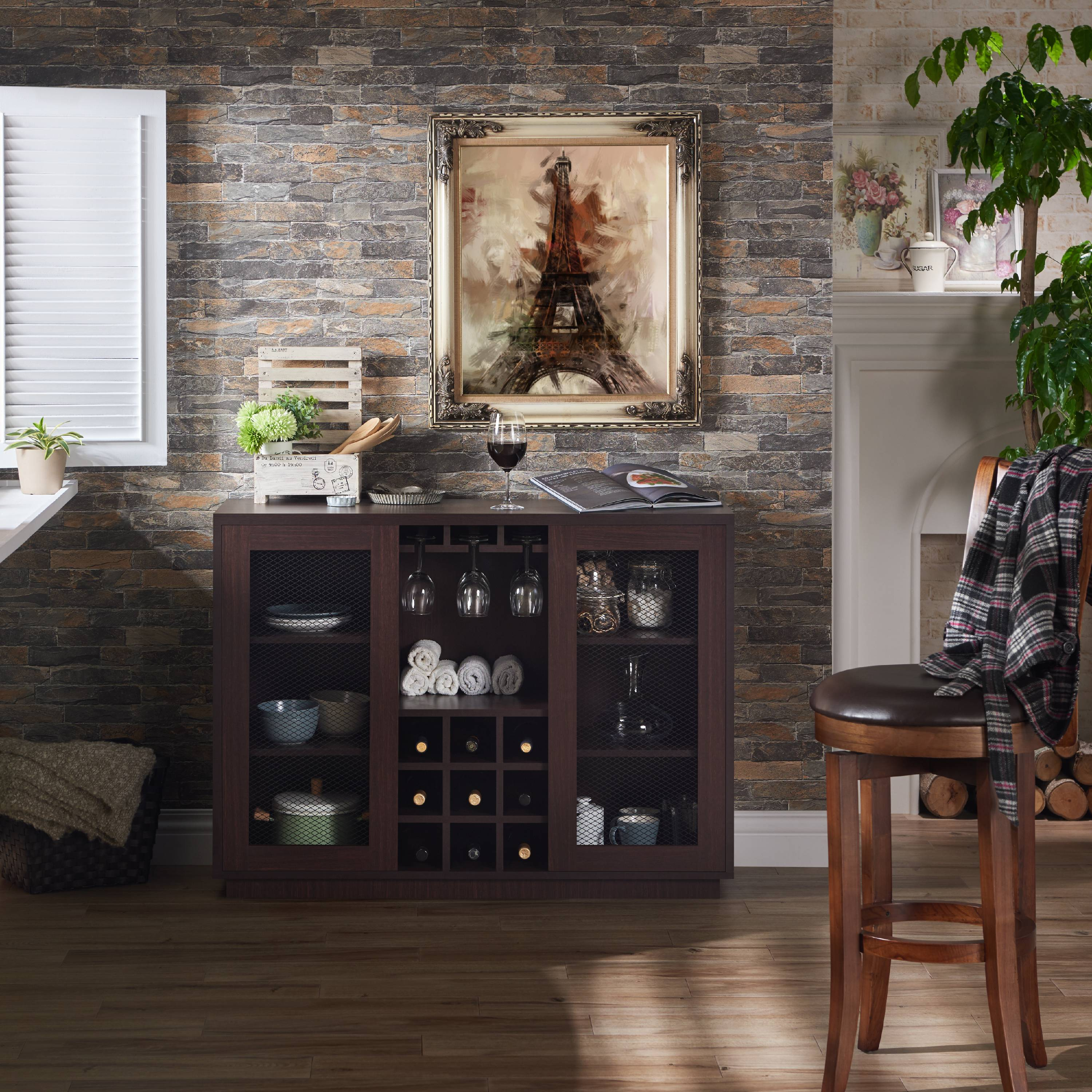 Furniture of America York Industrial Dining Buffet with Wine Rack, Multiple Colors