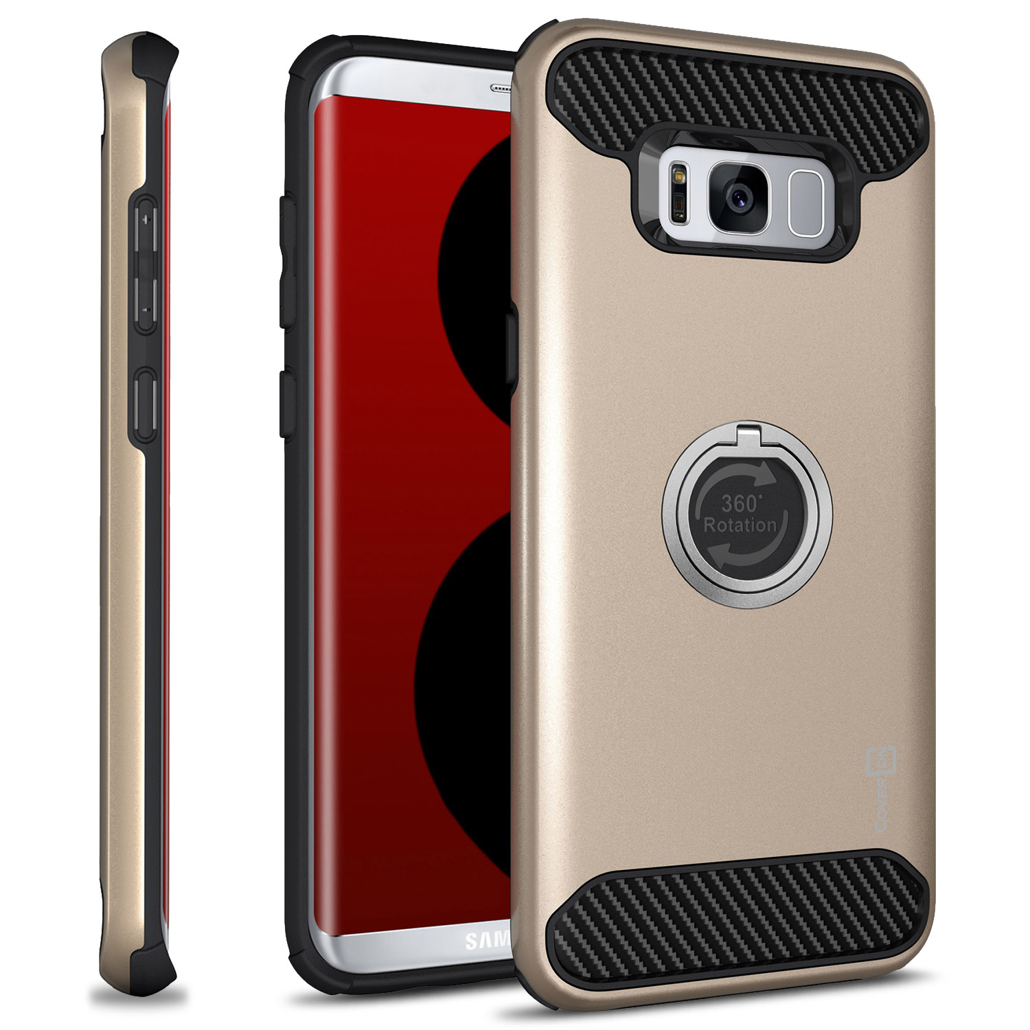 CoverON Samsung Galaxy S8 Plus Case, RingCase Series Hybrid Protective Phone Cover with Grip Ring