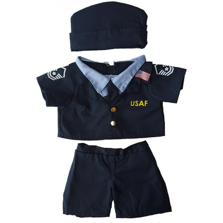 """Air Force Uniform Outfit Teddy Bear Clothes Fits Most 14"""" - 18"""" Build-a-bear and Make Your Own Stuffed Animals"""
