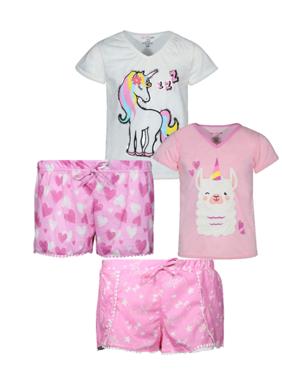 dELiA*s Girl 4 Piece Fashion Pajama Short Set (Little Girls & Big Girls)